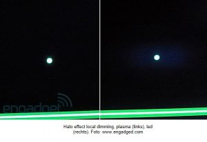 local dimming halo effect led en plasma